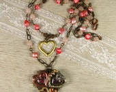 Collage of Hearts Multi Strand Necklace