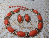 Vintage Coro Matching Orange Persimmon Choker Necklace and Earrings