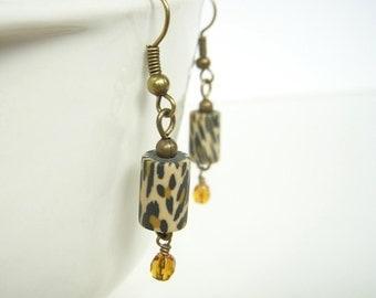 Animal Print Earrings, Leopard Cheetah Jewelry, Dangle Earrings, Black Gold Drop Earrings, Jungle Safari Jewelry