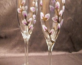 Lavender Grey Pussy Willow Champagne Flutes Hand Painted Glassware