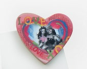 Lovely Ladies Valentine Heart Magnet or Ornament - Gay Wedding Gift - Lesbian Lovers - Same Sex Wedding Day Gift