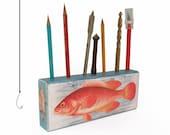 Fish Pencil Holder - Desk Organizer Office Pens - Fish Desk Caddy - Fishing theme decoration