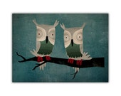 TWO HOOTS Owl illustration archival GICLEE print 7x9 Signed