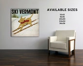CUSTOM TEXT SKI Dog Illustration on Stretched Canvas signed  Ready to Hang Wall Art