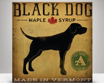 Black Dog Maple Syrup Illustration on Stretched Canvas Ready to Hang WALL ART