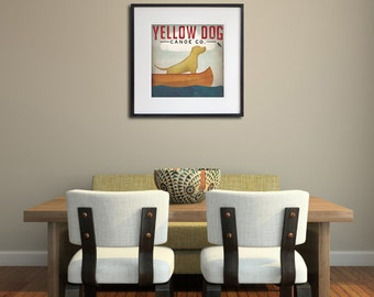 YELLOW DOG Canoe Company Labrador Retriever Graphic Art Illustration FRAMED Giclee Print 20x20