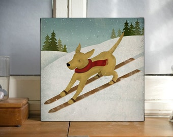 Ski Dog Sign BROWN, Black, Yelow, Dog Ski Stretched CANVAS Wall Art signed Labrador