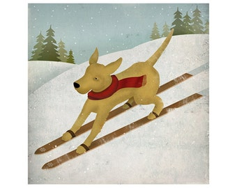 YELLOW DOG Ski Company Labrador Retriever Graphic Art Giclee Print 16x16 inches Signed