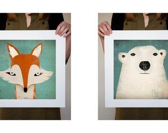 2 PRINTS Mister Fox and Polar Bear Graphic ART Illustration prints SIGNED