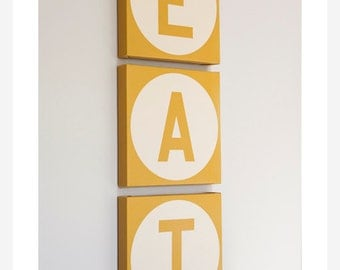 ANY COLOR Eat -  Custom  KITCHEN Decor Canvas Wall Art  Ready to Hang