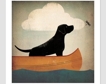 BLACK Brown Yellow Red DOG Labrador Canoe Ride original illustration Print Signed