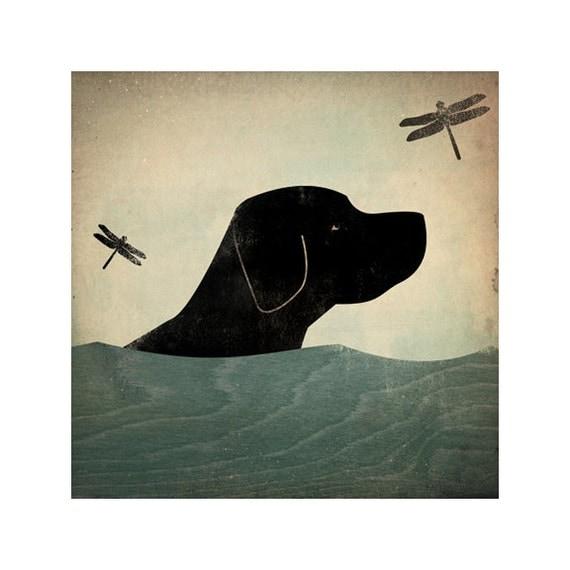 Summer Swim - Black (Red, Yellow, Brown too) Dog giclee print 7x7inch LABRADOR RETRIEVER