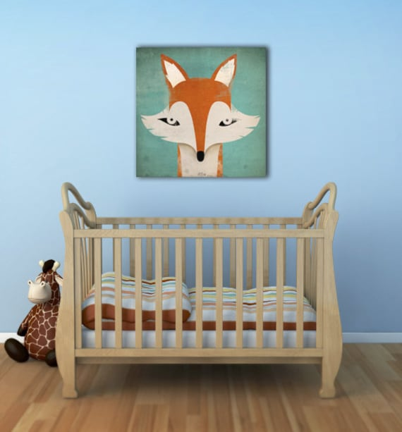 MISTER FOX Graphic Illustration Stretched Canvas Wall Art signed