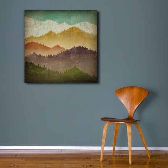 MOUNTAIN VIEW Smoky Mountains - Gallery Wrapped Stretched Canvas Wall Art  Signed