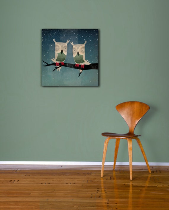Owls In Love Starry Night OWLS Gallery Wrapped Stretched Canvas Wall Art -  SIGNED