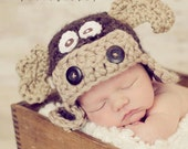 Baby Moose Hat - Crochet Baby Boy Hat - Photography Prop - Brown - Max the Moose - Size Newborn, 0-3 mos,  3-6 mos
