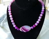 Genuine Amethyst Agate Purple slab and beads necklace .925 Silver by shoptillyoudropnow on Etsy