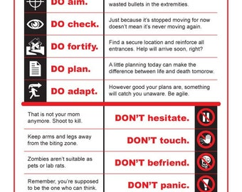Zombie Sign Set: Zombie Do's and Don'ts and Zombie Attack Notification