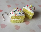 yellow cake earrings rainbow candy sprinkles