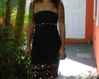 SALE Close Out! OOAK womens dress size 6 pinup glamour tattoo rockabilly psychobilly anchor punk halloween polka dot  strapless upcycled