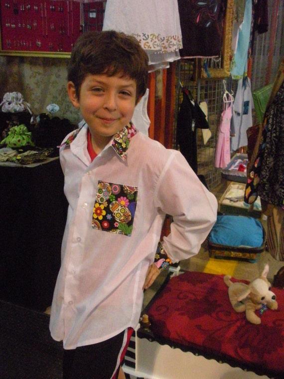 Boys shirt  Dios de Muertos Day of the Dead sugar skulls upcycled psychobilly rockabilly tattoo shirt size 8