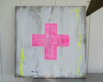 Neon Art - CROSS - Original Art - Plus Sign - Pink - Yellow - Abstract