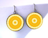 Not Just For Breakfast Orange Slice Earrings / Kaleidoscope Fruit Mandala Jewelry / Boho Beachy Hippie Raver