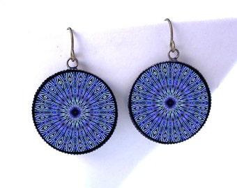 Peacock Kaleidoscope Dangle Earrings -Psychedelic Blue Mandala Jewelry - Hippie Boho Burner Raver