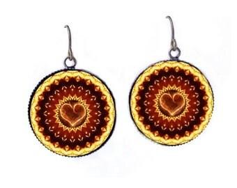 Flaming Heart Dangle Earrings Kaleidoscope Mandala Boho Jewelry Pyro Raver Hippie
