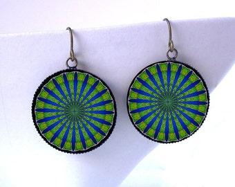 Peacock Mandala Earrings Psychedelic Kaleidoscope Jewelry - Hippie Boho - Under 25 Gift