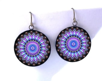 Mandala Earrings, Psychedelic Jewelry, Kaleidoscope Dangles, UV Reactive, Boho Jewellery, Gift for Hippie, Burning Man Gift for Her under 25