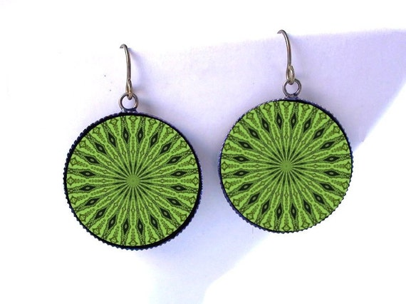 Kiwi Dangle Earrings -Mandala Jewelry -Psychedelic Kaleidoscope Earrings -Green Boho Accessory -In Stock