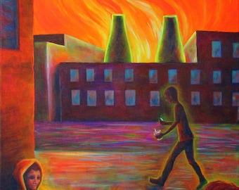 "18x24"" Neon Acrylic Painting - ""Dogs"""