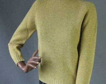Vintage 70s Pullover Sweater Yellow Tan Wool Small