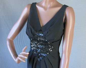 50s 60s Wiggle Dress Vintage 1960s 1950s Bombshell Cocktail Medium Sequin Draped