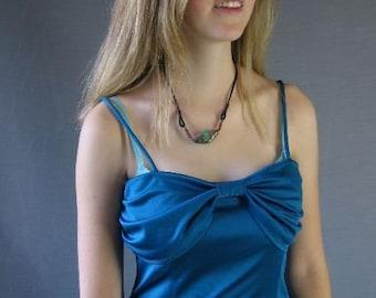 70s Vintage Disco Dress 40s Style Mini Dress Jersey Strappy Blue Medium
