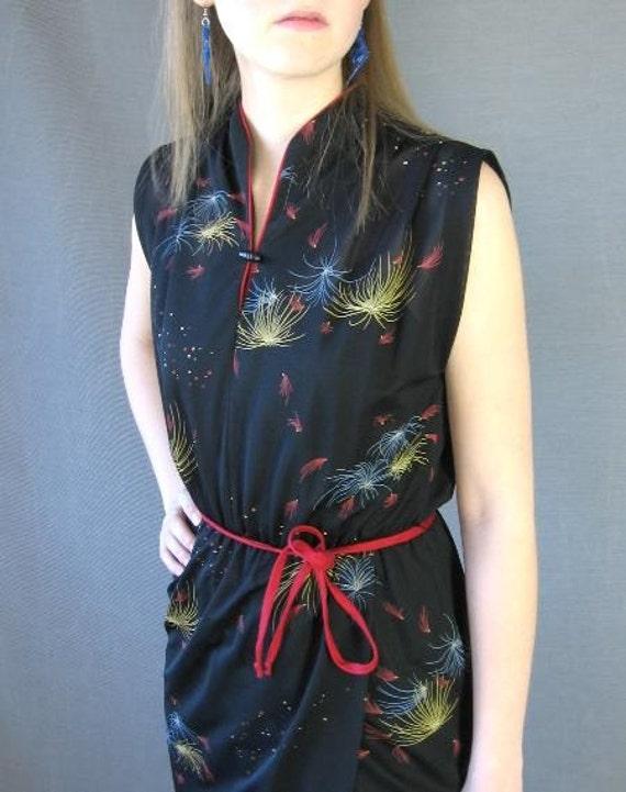 70s Vintage Summer Dress Novelty Print FIREWORKS Sarong Style Medium