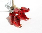 Red Lampwork Glass Headpins for Earrings, Necklace. Handmade Jewelry wire supplies