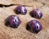 Violet Enamel Filigree Bead Caps, hand painted w/h enamel-glass color, Bead Supplies - Purple Bead Caps - Filigree Caps - Boho Findings