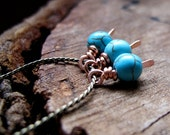 Gemstones Wire Wrapped Dangles. Turquoise Cracked Stone balls with Flat Hammered Headpins. Bead Dangles/ Blue Charms / Cooper Findings