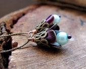 Purple Flower Bead Dangles. Vintage Style Bead Dangles for Earrings. Handmade Vintage Supplies - Drop Dangles - Flower Dangles for Earrings