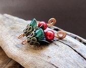 Dangle Bells Earrings Supplies. Colorful Flower Dangles. Vintage Green/Red Dangles. Enameled Findings