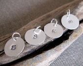 Hand Stamped Sterling Silver Disc. Initial Letter Charm Circle. Engraved Silver Dangle 1/2 inch / Initials / Silver Charms / Personalized
