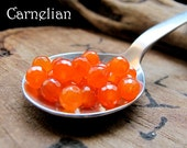 4 Orange Carnelian Faceted Gems for Dangles, Charms, Earrings, Necklace - 5mm Gemstone bead set