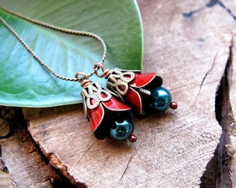 Bell Bead Dangles. Red  Charm Flower Dangles for Earrings making. Handmade Jewelry Findings. Fabulous Bells.Flower Drop Dangles for Earrings