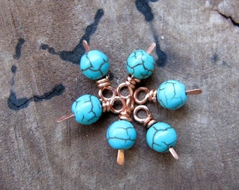 Copper Wire Wrapped Bead Drop dangle. Turquoise Blue Natural Stone. Vintage Style Bead Dangles / Turquoise charms / Necklace Drop Dangles