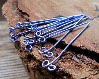 Purple Headpins 1.5 inch. Bow Eye Pins 22 gauge. Infinity Pins. Enamel Copper Jewelry Findings. Earrings components / Head Eye Pins
