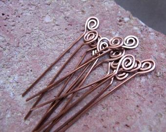 Spiral Head Pins 22 gauge. Bronze Swirl Headpins. Hammered Long Spirals, Handmade Jewelry Findings. Eye Pins - Artisan Headins. Top Spirals