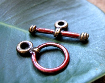 Antique Toggle Clasp. Enameled T Bar Clasp for Necklaces, Bracelets - Bronze Supplies, Red - Red Clasp / Bronze Clasps / Artisan Clasps