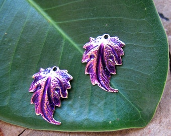 Purple Leaf Dangle Earrings Findings. Enameled Leaves Charms. Handmade Brass Plated Flower. Leaf Charms. Leaves Dangles for Earrings